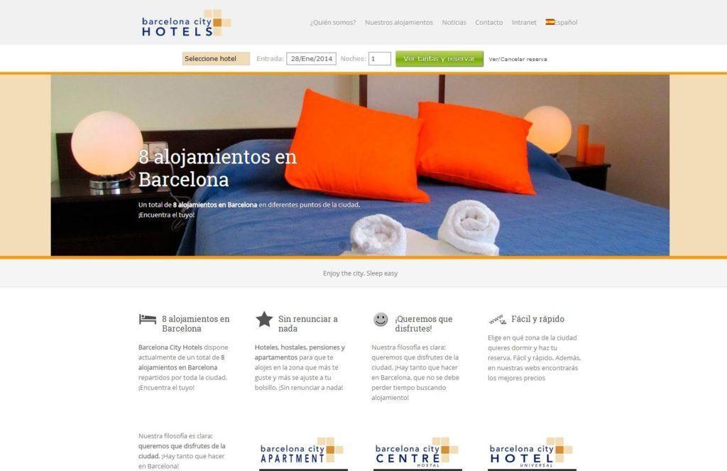 web de Barcelona City Hotels (sector turismo)