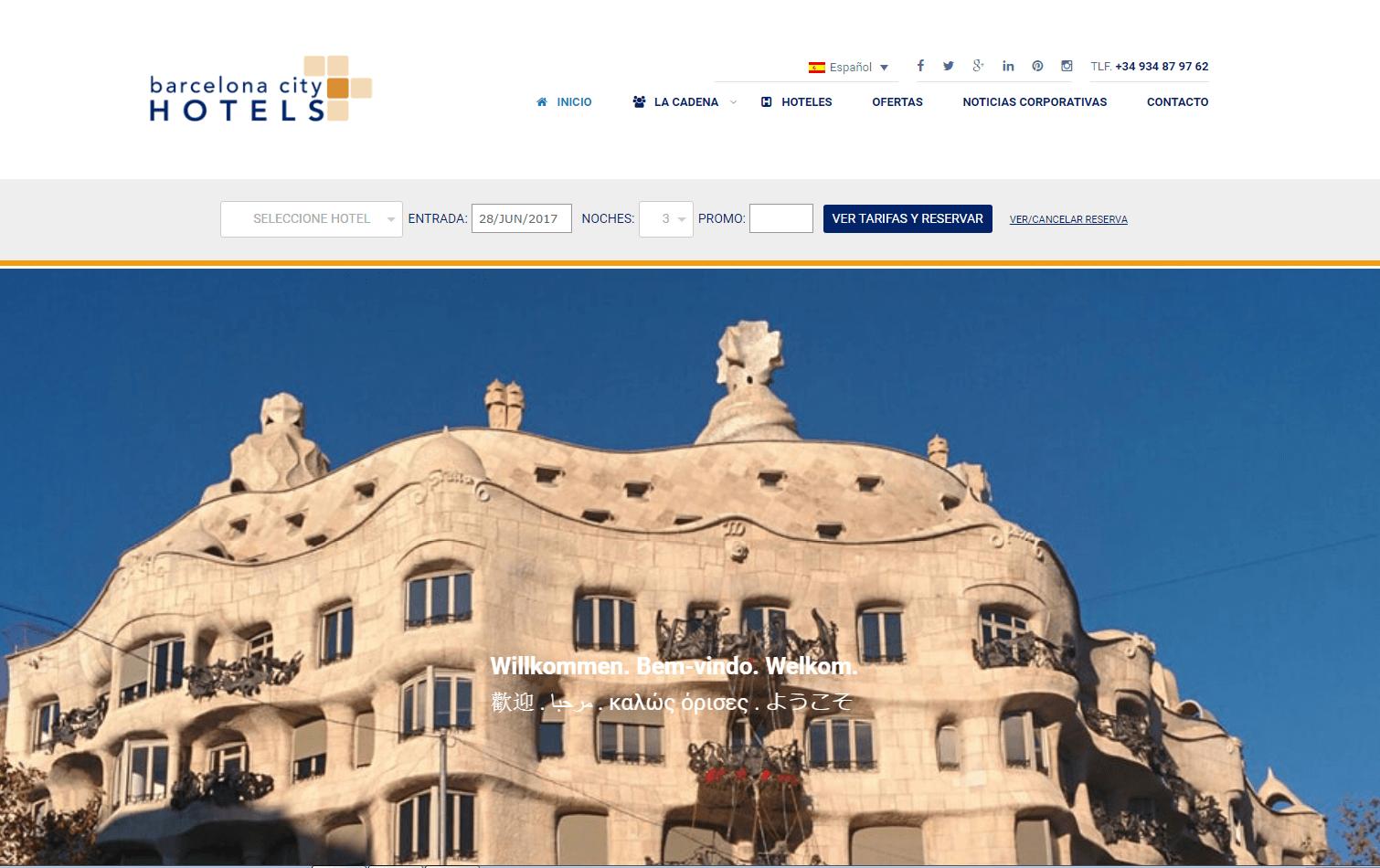 Web de BCN City Hotels: multi-idioma y sistema de reservas