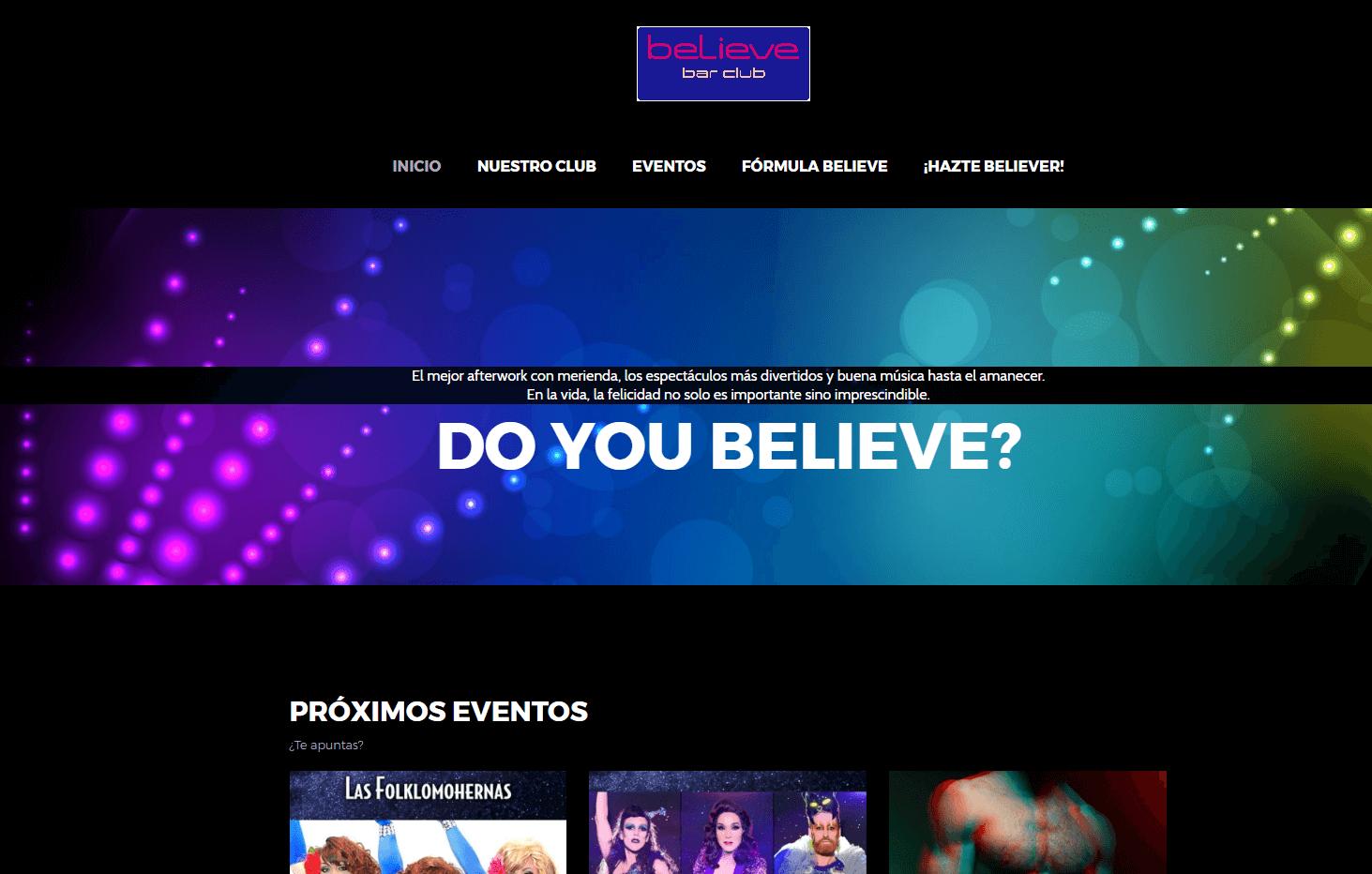 Web de BELIEVE Bar Club