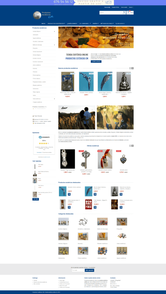 Tienda esotérica online en Prestashop